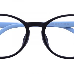 Kid's Oval Eyeglasses Full Frame TR90 Blue/Black - FP1753