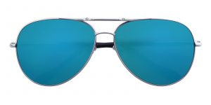 Men's Aviator Sunglasses Full Frame Metal Silver/Blue mirror-coating - SUP0510