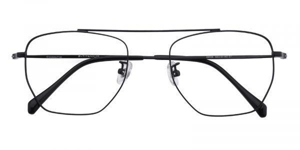 Unisex Aviator Eyeglasses Full Frame Titanium Black - FT0224