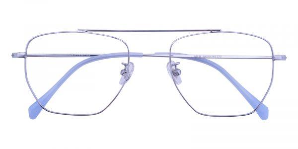 Unisex Aviator Eyeglasses Full Frame Titanium Silver - FT0225