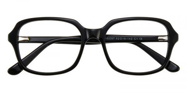 Unisex Rectangle Eyeglasses Full Frame Plastic Black - FZ1237