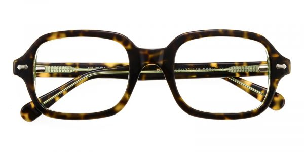 Unisex Rectangle Eyeglasses Full Frame Plastic Green Tortoise - FZ1243