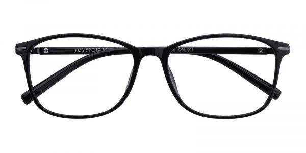 Unisex Rectangle Eyeglasses Full Frame TR90 Black - FP1768