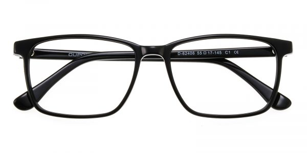 Unisex Rectangle Horn Eyeglasses Full Frame Plastic Black - FZ1245