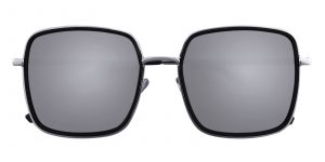 Unisex Rectangle Sunglasses Full Frame Metal Black/Silver Silver mirror-coating - SUP0506