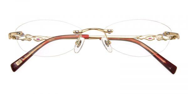 Women's Oval Eyeglasses Rimless Frame Metal Golden - RM0283