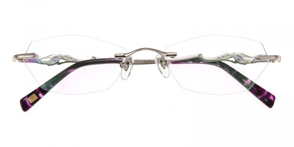 Women's Polygon Eyeglasses Rimless Frame Metal Silver - RM0284