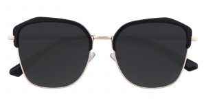 Women's Polygon Sunglasses Full Frame Metal Black/Golden - SUP0501