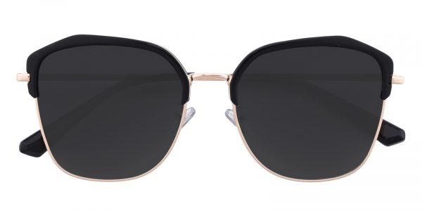 Women's Polygon Sunglasses Full Frame Metal Black/Golden - SUP0501
