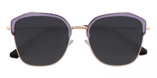 Women's Polygon Sunglasses Full Frame Metal Purple/Golden - SUP0500