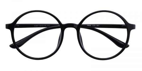 Women's Round Eyeglasses Full Frame TR90 Black - FP1765